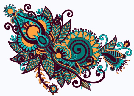 embellishments: original hand draw line art ornate flower design. Ukrainian traditional style Illustration