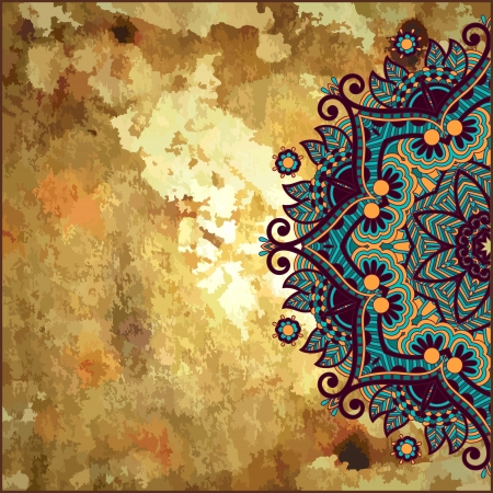 ethnic pattern: flower circle design on gold grunge background with lace ornament