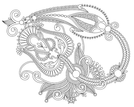 Hand draw line art ornate flower design. Ukrainian traditional style Vector
