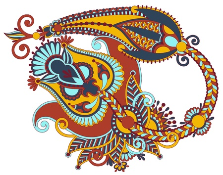 original hand draw line art ornate flower design. Ukrainian traditional style Stock Vector - 16582316