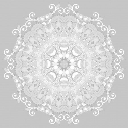 Circle ornament, ornamental round lace Vector