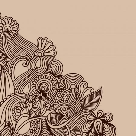 hindi: ornamentali sfondo vintage floreale con fiori decorativi per la progettazione Vettoriali