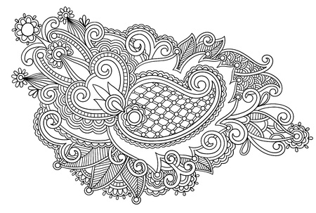 ukrainian: Hand draw black and white line art ornate flower design. Ukrainian traditional style