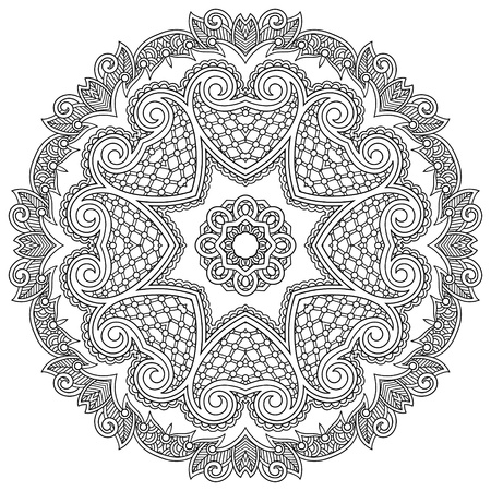 Circle ornament, black and white ornamental round lace Vector