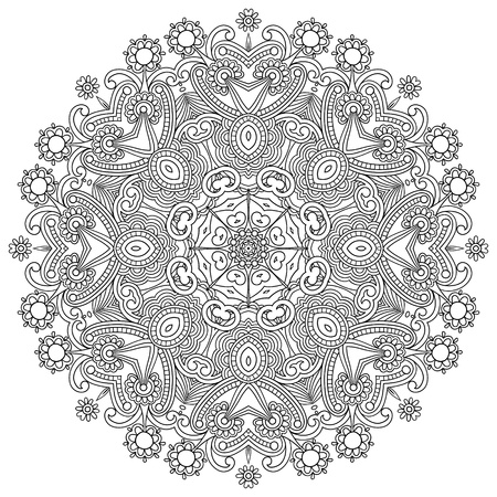 Circle ornament, black and white ornamental round lace Illustration