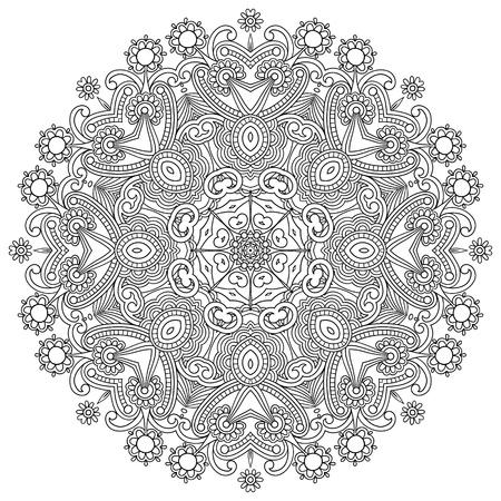 Circle ornament, black and white ornamental round lace Stock Vector - 16602820