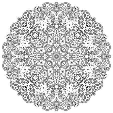 round style: Circle ornament, black and white ornamental round lace Illustration