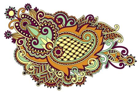 original hand draw line art ornate flower design. Ukrainian traditional style Stock Vector - 16602779