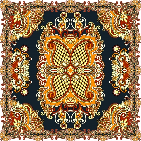 Traditional ornamental floral paisley bandanna. You can use this pattern in the design of carpet, shawl, pillow, cushion Çizim