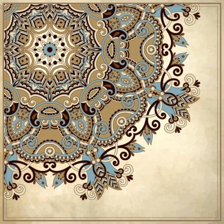 レース飾りグランジ背景に花の円の設計