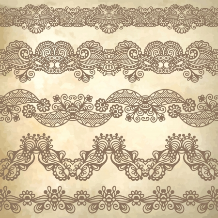 frieze: collection of seamless ornamental floral stripes Illustration