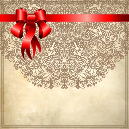 Holiday background with red ribbon and floral ornament on grunge background Stock Vector - 16635205