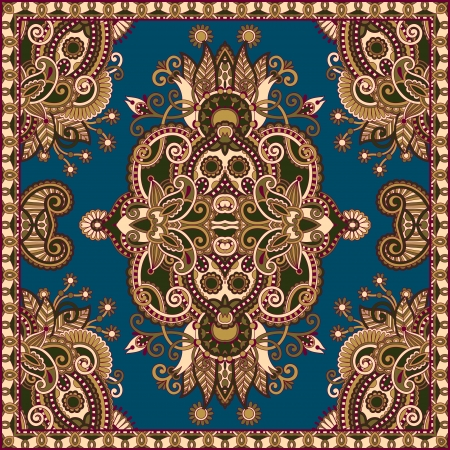 Traditional ornamental floral paisley bandanna. You can use this pattern in the design of carpet, shawl, pillow, cushion Stock Vector - 16635264