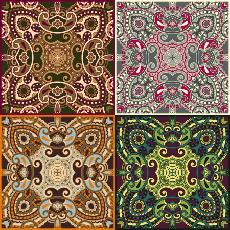 four ornamental floral seamless texture collection, lace pattern, kaleidoscope ornament Vector