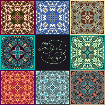east indian: ornamental floral seamless texture collection, lace pattern, kaleidoscope ornament