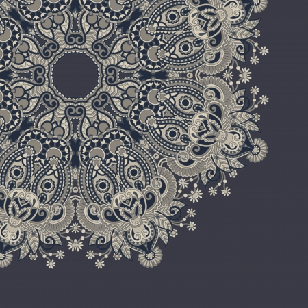 french label: ornamental circle template with floral background