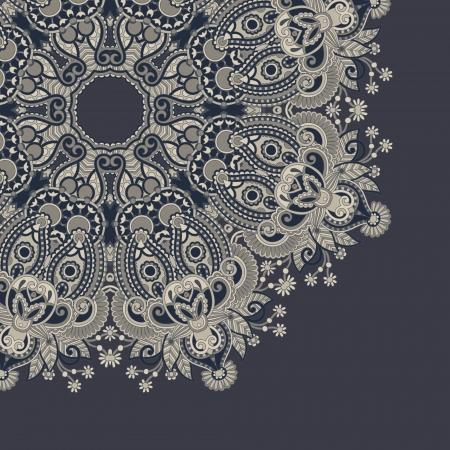 french label: plantilla de c�rculo con fondo floral ornamental