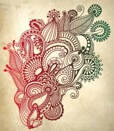 art ornate flower design. Ukrainian traditional style Vector