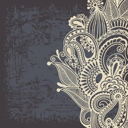 グランジ背景に花のデザイン