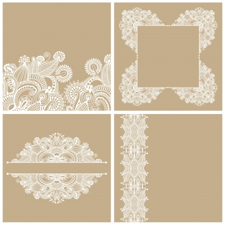 collection of ornamental vintage floral background with decorative flowers for your design, template frame pattern set for card Vector
