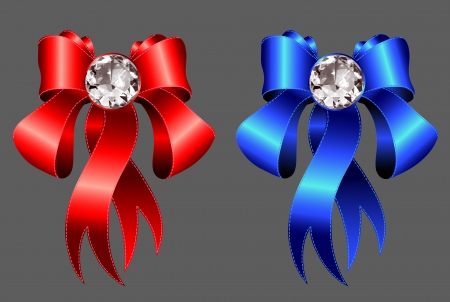 blue bow: red and blue ribbons with diamond jewel