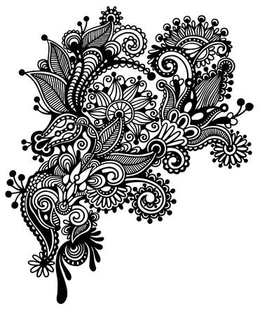 黒と白のライン アートの華やかな花のデザイン。ウクライナの伝統的なスタイル  イラスト・ベクター素材