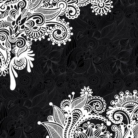 黒と白の花柄  イラスト・ベクター素材