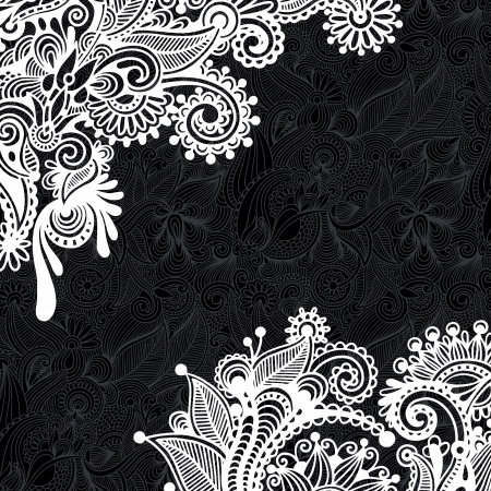 black and white floral pattern Stock Vector - 16668853