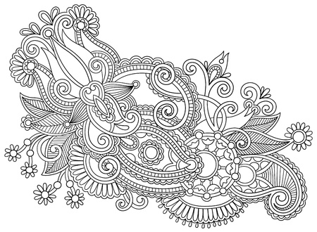 black and white line art ornate flower design. Ukrainian traditional style Vector