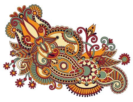 hindi: art ornate flower design. Ukrainian traditional style Illustration