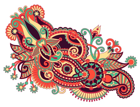 ukrainian: original hand draw line art ornate flower design. Ukrainian traditional style Illustration