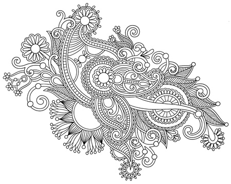 Hand draw black and white line art ornate flower design. Ukrainian traditional style Vector