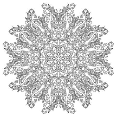 サークルの飾り, 白と黒の装飾ラウンド レース  イラスト・ベクター素材