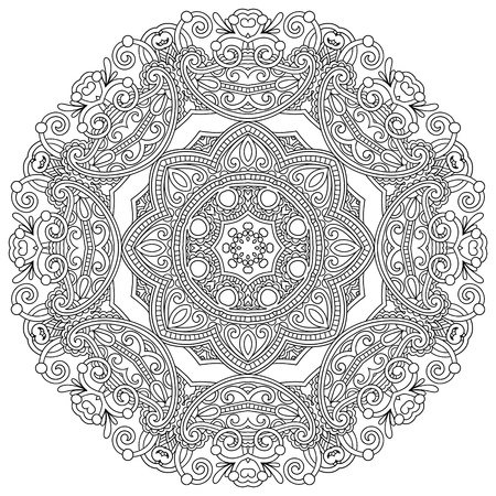 ornamental background: Circle ornament, black and white ornamental round lace Illustration