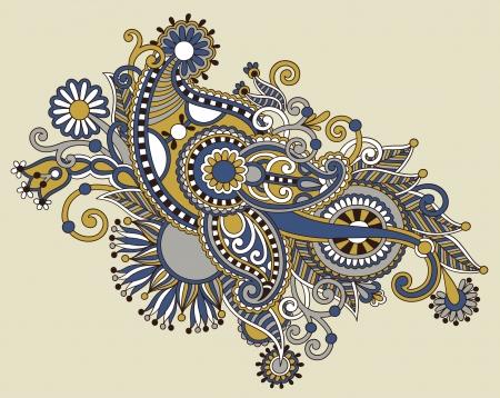 stílus: eredeti kézzel rajzol line art díszes virág design. Ukrán hagyományos stílus Illusztráció