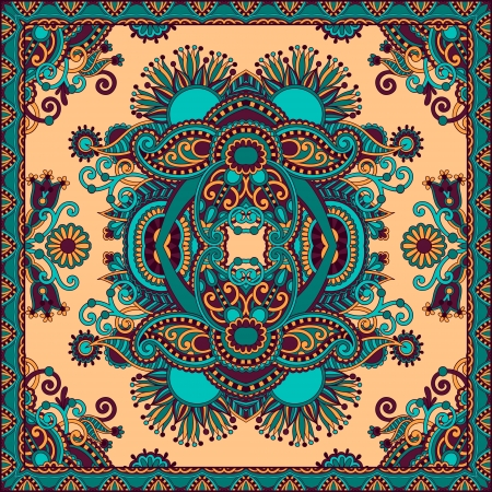Traditional ornamental floral paisley bandanna. You can use this pattern in the design of carpet, shawl, pillow, cushion Stock Vector - 17367318