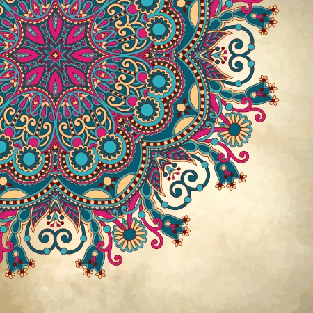 ethnic pattern: flower circle design on grunge background with lace ornament
