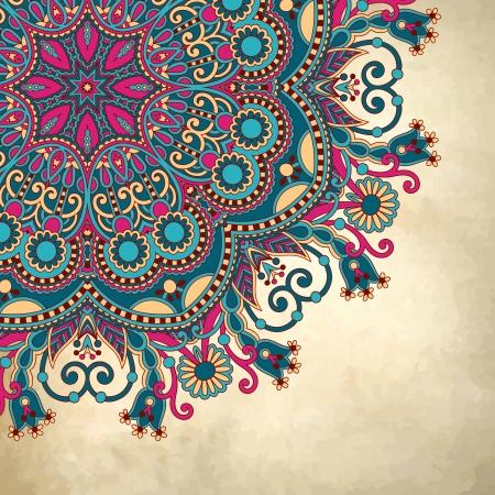 paisley: konstrukcja koło kwiat na tle grunge z ornamentem koronki Ilustracja