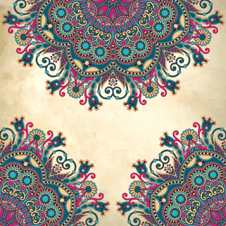 flower circle design on grunge background with lace ornament Vector