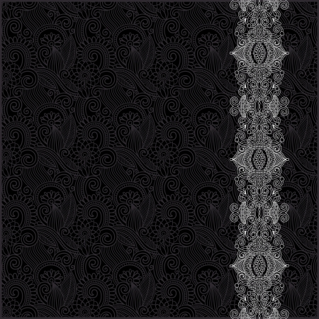 black and white ornate floral background with ornament stripe Vector