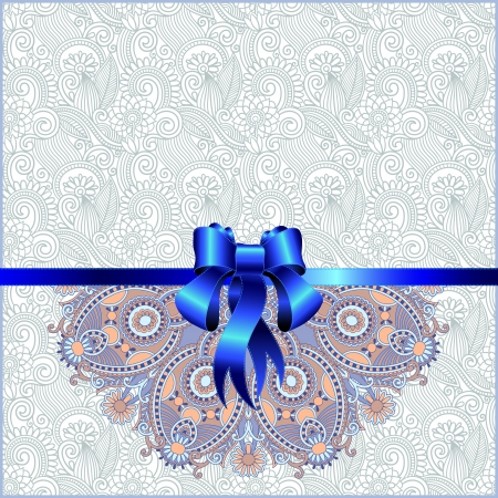 Holiday background with blue ribbon  Vector