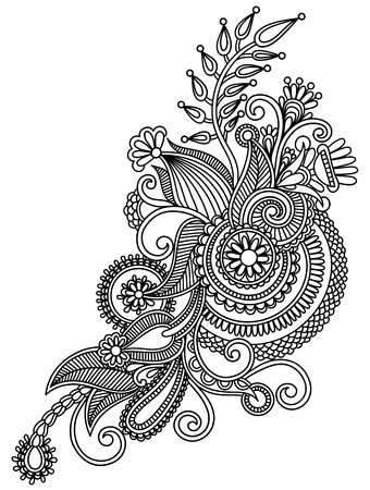 hindi: original hand draw line art ornate flower design  Ukrainian traditional style