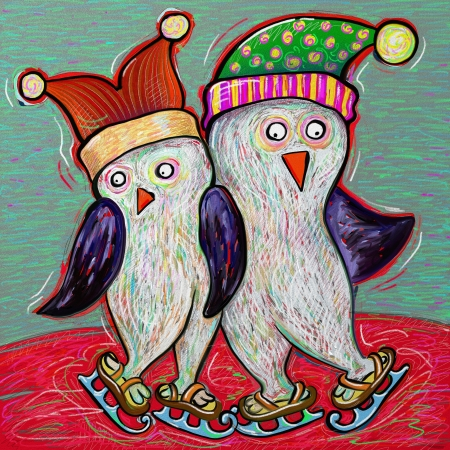lowbrow: doodle penguin couple ice skate, digital painting illustration