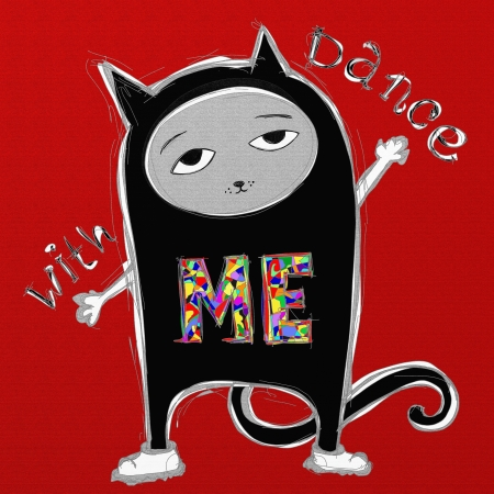 cat dancing ,digital painting illustration illustration