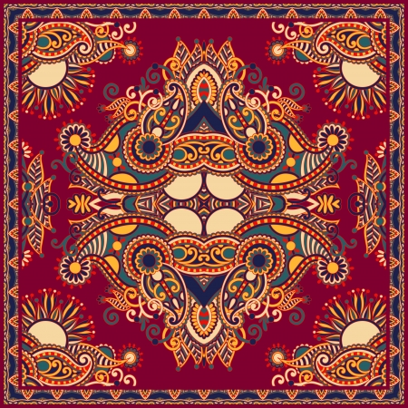 Traditional ornamental floral paisley bandanna. You can use this pattern in the design of carpet, shawl, pillow, cushion Stock Vector - 17380015
