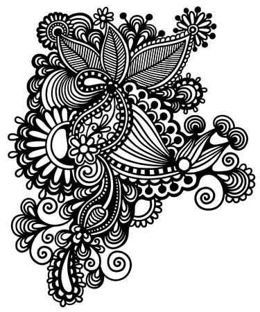 オリジナル手ライン アートの華やかな花のデザインを描画します。ウクライナの伝統的なスタイル  イラスト・ベクター素材