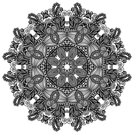Circle lace ornament, round ornamental geometric doily pattern Stock Vector - 17405814