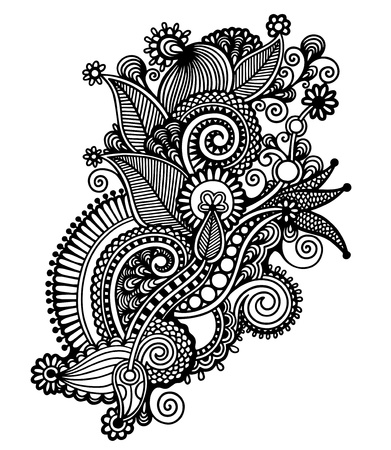 ukrainian traditional: Hand draw black and white line art ornate flower design. Ukrainian traditional style