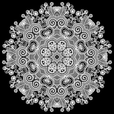 サークル レース飾り, 装飾的な幾何学的なドイリー パターンをラウンド  イラスト・ベクター素材