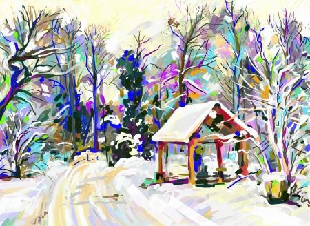 digital painting of winter landscape Stock Vector - 17416242